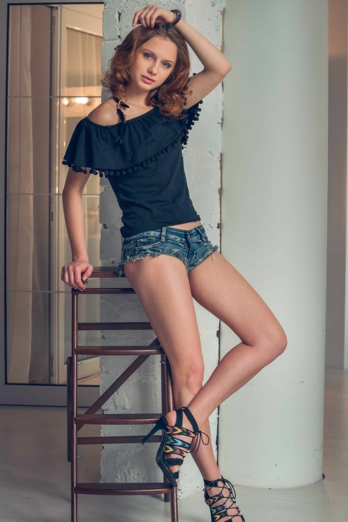 Leggy Brunette In Shorts